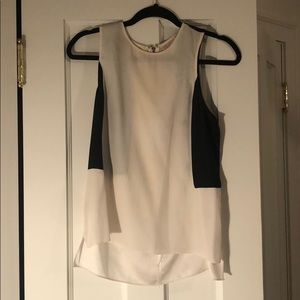 White and black Parker silk sleeveless top, size S